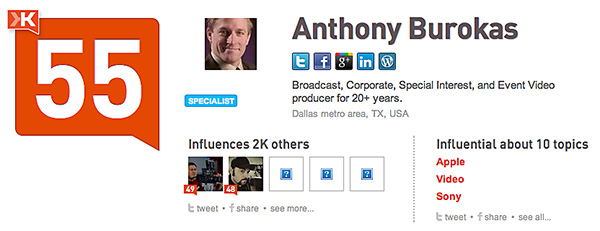 Anthony is a heavy influencer of others in the creative community. 